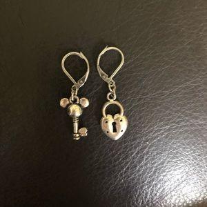 Silver Mickey Lock + Key Earrings
